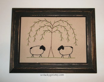 UNFRAMED Primitive Sheep Stitchery Prim Picture 5 x 7 Rustic Stitched Folk Art Embroidery Handmade Accent Gift Idea Willow wvluckygirl