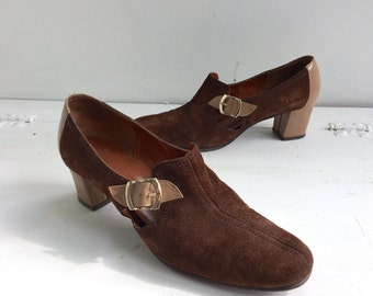 60s Mod Brown Shoes Two Tone Chunky Heels Paradise Kittens 10