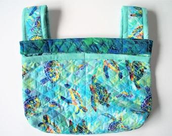 Quilted Sea Turtles Designer Walker or Wheelchair Bag with Velcro Straps,Lg.Walker Bag,Bike Bag,Desk Cchair Bag,Over Armrest,Three Pockets