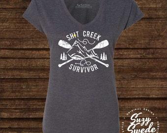 Sh*t Creek Survivor Ladies' V-Neck T-Shirt - Perseverance, tenacity, divorce gift, hardship, encouragement, snarky, journey