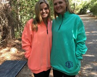 monogrammed sweatshirt Charles river personalized 1/4 zip sweatshirt