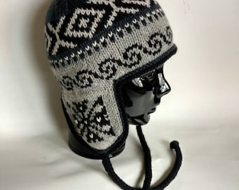 Traditional Peruvian- style Hand Knit Wool Winter Hat, Unisex