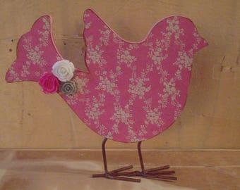Altered Shabby Pink Decoupaged Wooden Bird