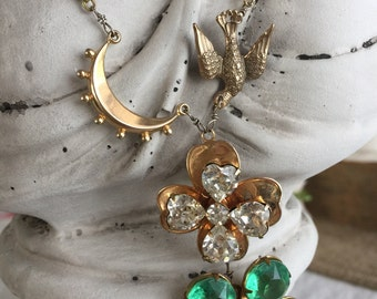 field of clovers - vintage rhinestone assemblage necklace green swallow bird crescent moon gold watch chain st. patrick's day irish spring