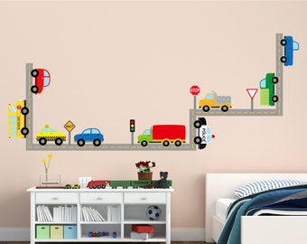 Car Wall Decals - Cars and Trucks Reusable Wall Decals - Car Wall Decals - Reusable Car Decals - Transportation Wall Decal Set - Car Decals