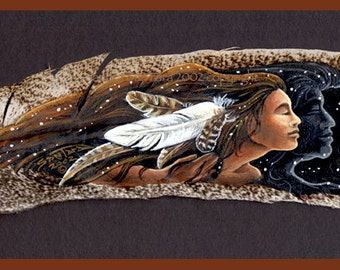 Native American Soul Mate Couple Feather Print