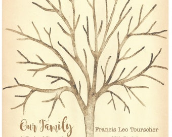 Oak Birthday Thumbprint Signature Tree Francis Leo Tourscher 95th Birthday X-Small Up to 125 guests 12 x 16 Watercolor