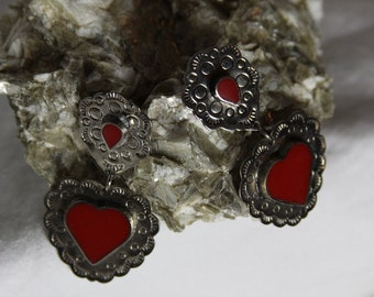 Boho Heart Earrings Silver & Red Hearts Vintage Special Southwest Valentines Day Special Red Coral