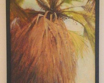 Maui Art Loulu Palm tree painting original artwork Hawaiian endemic plants original oil painting on textured surface 18x24 framed