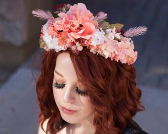 Fairy Flower Crown - Peach, Pinks, and Creams Ren Faire Costume Bridal Headpiece