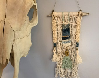 Blue and White Indigo Weaving Wall Hanging with Wood, Macrame + Tassels