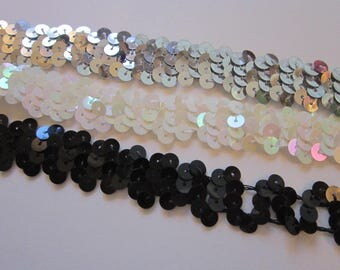 18 yards sequin trim - BLACK, SILVER, and WHiTE with AB finish - 3/4 inch wide - as is