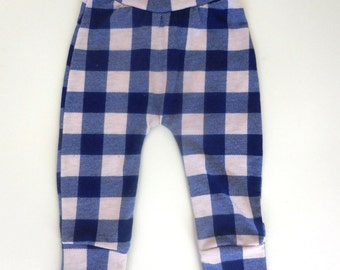 BUFFALO PLAID Leggings Neutral Baby Infant Stretch Knit Pants Navy Blue Tan Checkered Pull On Haram 9 12  Month infant Checked
