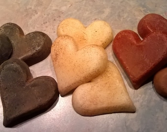 Primitive Heart Wax Melts  - Highly Scented - Choice of Red-Black-White Dusted with Cinnamon - (9) Per Bag  - Only 9.99