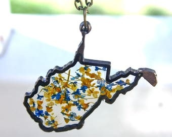 West Virginia Pendant Necklace, WV Botanical, Botanical Jewelry, Pressed Flower Jewelry, Flor Pendant, Monarch, Maple, Coal, Blue and Gold