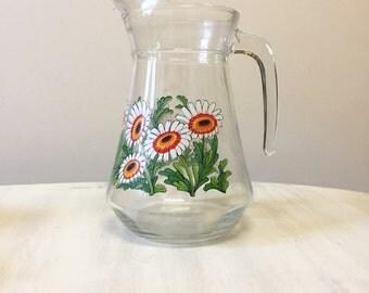 Vintage glass pitcher, vintage glass jug, vintage pitcher, vintage jug, water pitcher, juice pitcher, retro pitcher, vintage glassware