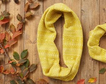 Yellow & white snood, Fair Isle snood, infinity scarf, loop scarf, wool snood, yellow scarf, lambswool, soft warm, fair isle pattern, uk