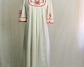 Vintage 1970s Boho White Embroidered Cotton Maxi Dress