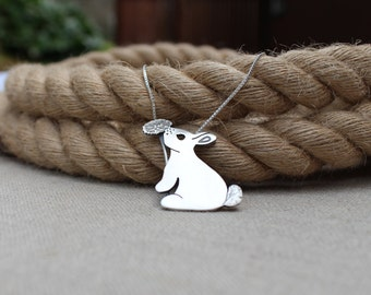 Bunny necklace, Hand cut sterling silver bunny rabbit and dandelion necklace