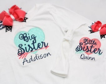 Big Sister Shirt and Little Sister Shirt with Matching Hairbows - Coral Navy Mint - Hearts and Arrows