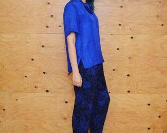 Vintage 90's royal blue boxy silk blouse S M L o/s