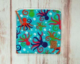 Reusable Sandwich Bag - Sandwich Bag - Zipper Pouch - Zipper Bag - Octopus