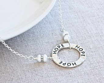 Hope Necklace, Circle Necklace, Silver Statement Necklace, Sterling Silver Necklace, Miscarriage Jewelry, Adoption Gift, Christian Jewelry