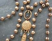Long pearl necklace - Chloe - artisan bronze pendant necklace, heart charm, gold, gemstones, braided crochet jewelry by 3 Divas Studio