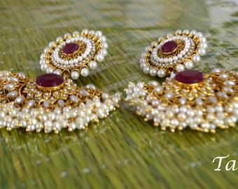 Ruby Pearl Chandelier Earrings,Ruby gold Earrings,18K Gold plated Jewelry,Mughal Royal Earring,Indian jewellery byTaneesi