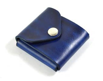 Handmade Leather Card Wallet Hand Dyed Blue Vegetable Tanned