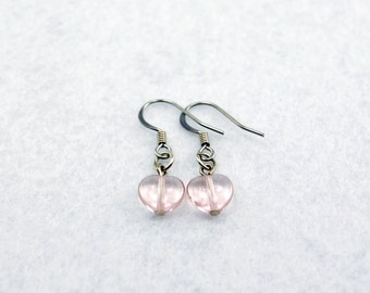 Pale Pink Heart Earrings in Silver - Pink Heart Earrings, Pink Earrings, Valentine's Day Gift, Girlfriend Gift