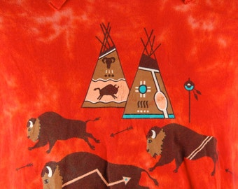 Tie Dye Native American Bison T-shirt, Buffalo T-shirt - Amazing Vintage