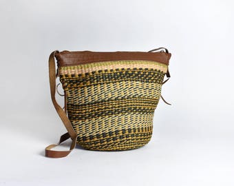 Striped Sisal Market Tote with Leather Strap || Lined Straw Bucket Bag