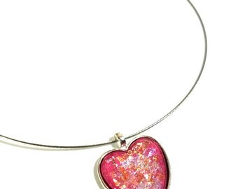 Pink or Red Heart Glitter Necklace Pendant, Valentines Heart Jewelry, Nail Polish Necklace, Valentines Gifts Budget
