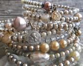 Gramma's Pearls            Vintage Pearl Crystal Wrap Bracelets