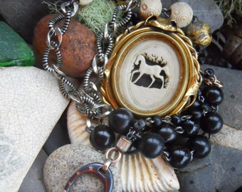 Gypsy            Antique Bone Horse Swivel Locket Assemblage  Necklace