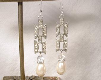 Antique Art Deco 1920s Bridal Earrings, Sterling Silver Rhinestone Pearl Drops, Vintage Long Paste Crystal Statement Dangle Gatsby Wedding