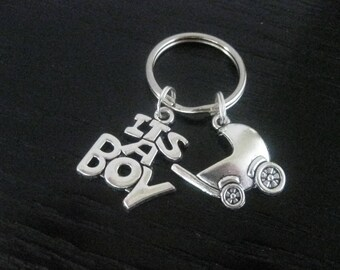 It's a BOY & Baby Buggy Key Ring