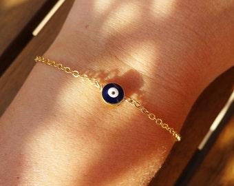 Gold Chain Evil Eye Bead Bracelet
