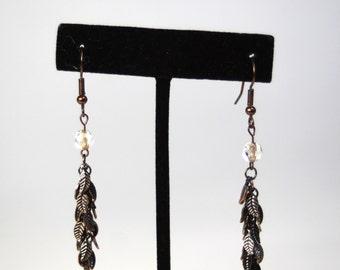 Copper Leaf Dangle Earrings