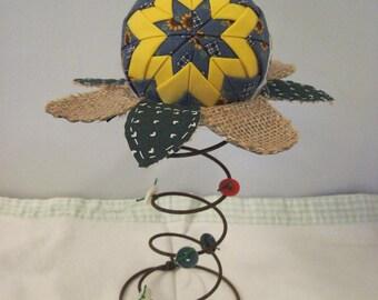 Spring Nodder, Folded Sunflower Fabric Star Ball on Bed Spring