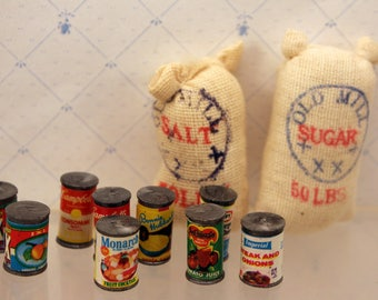 Lot Miniature Canned Food Flour Sugar Groceries Dollhouse or Country Store