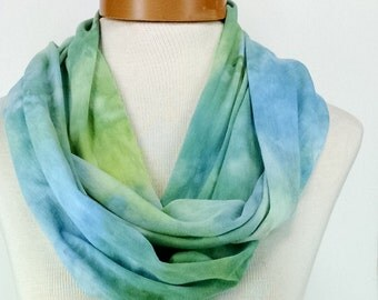 Infinity Scarf in Soft Blues and Greens, Bamboo Jersey Scarf, Hand Dyed Scarf, Neck Wrap