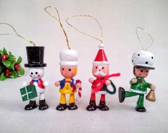 Set of 4 Vintage Christmas Ornaments in Original Box, Santa, Snowman, Girl and Boy Hand Painted Wood Miniature Doll Figurine Ornaments, 1980