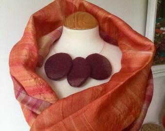felted wool statement felted wool necklace lagenlook choker  ..burgundy pink .....wearable art OOAK Art to Wear