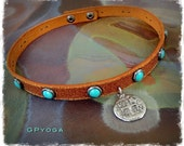 For Elisabet. PIRATE COIN choker Brown Leather collar Doubloon charm Cowgirl jewelry Turquoise Studded Choker Bohemian jewelry GPyoga