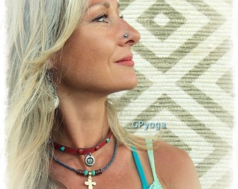 RED choker with GANESHA charm Leather collar Southwestern jewelry Studded Choker Bohemian Boho Yoga Festival jewelry Happy Elephant GPyoga
