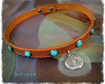 PIRATE COIN choker Brown Leather collar Doubloon charm Cowgirl jewelry Turquoise Studded Choker Bohemian Boho Gypsy Festival jewelry GPyoga