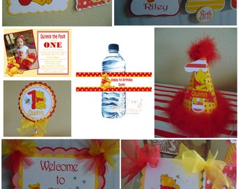 Winnie the Pooh 1st Birthday Party Package Disney Winnie The Pooh-banner, hat, invitation, water bottle label