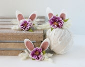 ready to ship lavender springtime newborn bunny easter woodland ears crown halo floral headband prop
